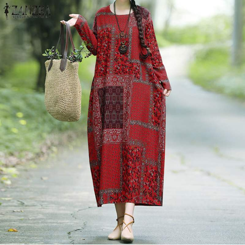 Large Size Floral Print Loose Maxi Dress