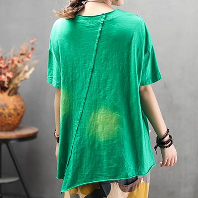 Round Neck Loose Casual Irregular Blouse