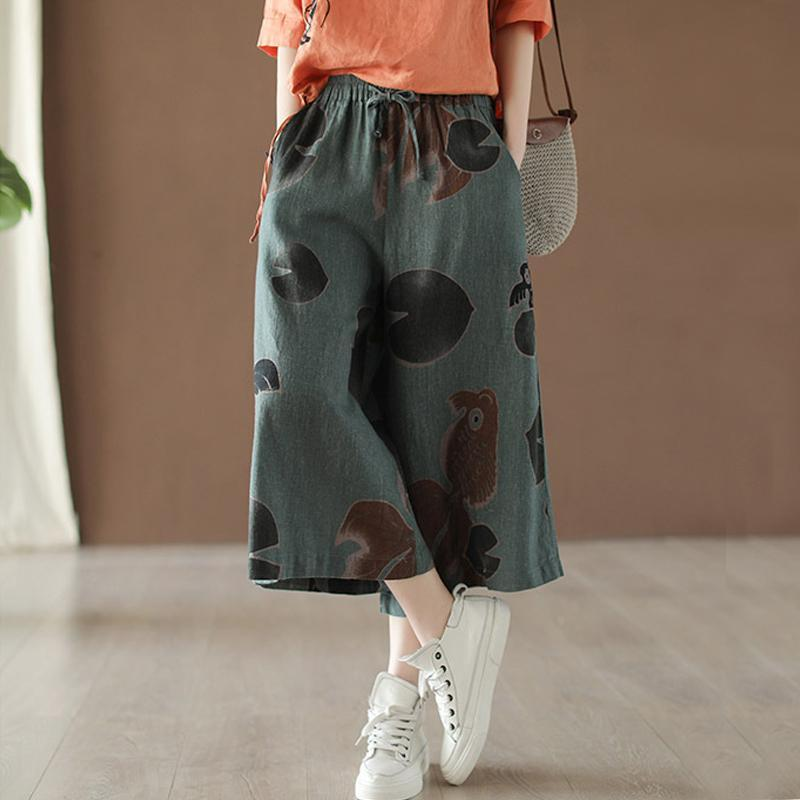 Drawstring Cotton Linen Wide Leg Retro Pants