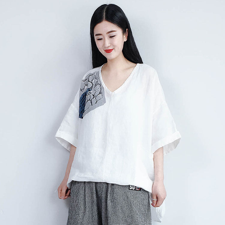 Women Printed Loose Casual T-Shirt With Pocket