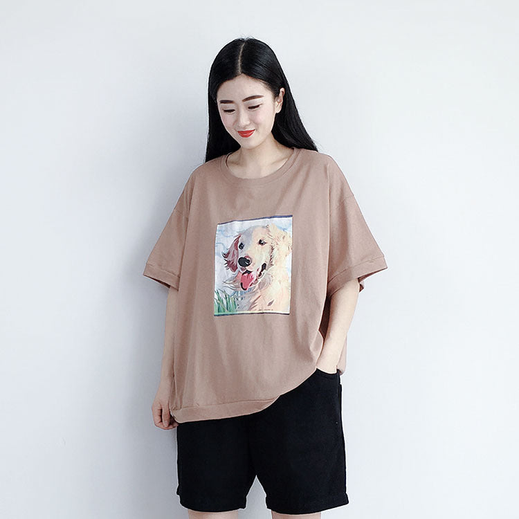 Cotton Short Sleeve Casual Print Blouse