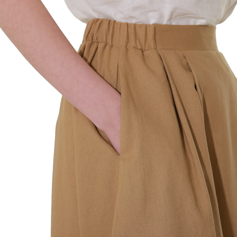 Summer Cotton Linen Long Skirt