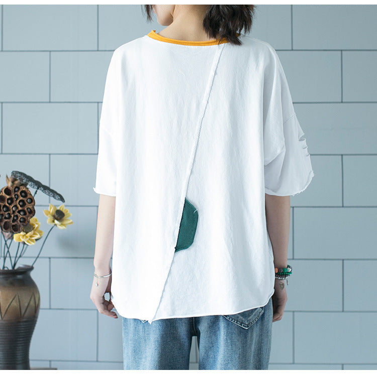 Round Neck Pullover Loose Short-Sleeved Patch T-shirt