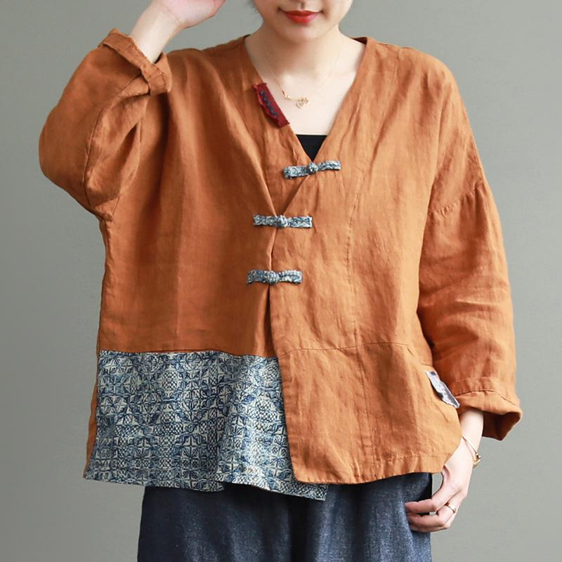 Vintage Splicing Printed Frog Women Blouse