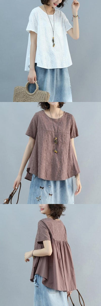 Women Short Sleeve Embroidery Loose T-Shirt