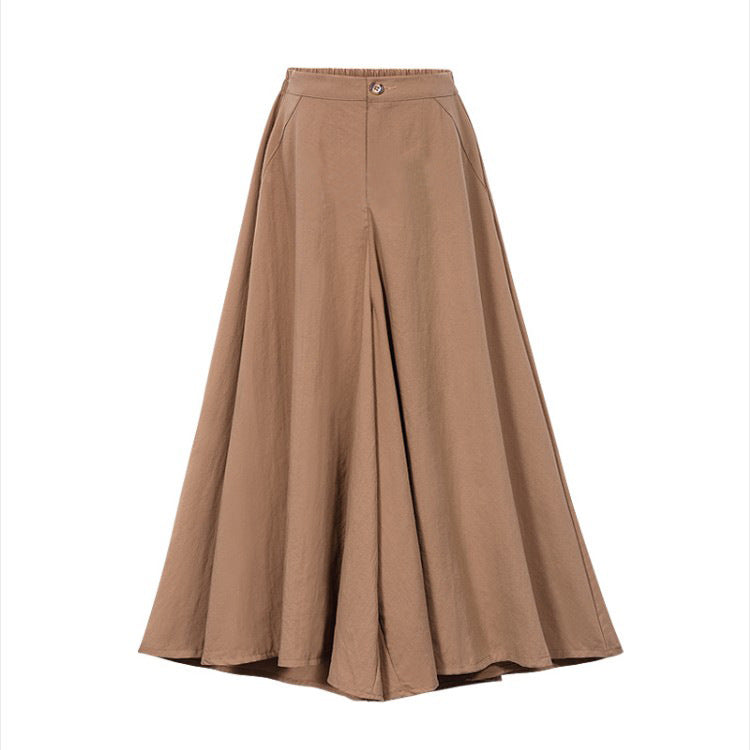 Cotton Linen Plus Size Wide Leg Pants