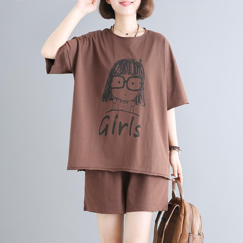 Summer Casual Cotton Short Sleeve Blouse And Shorts