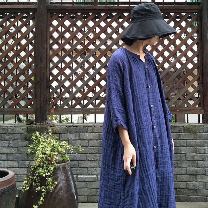 Linen Vintage Print Pleated Women Dress