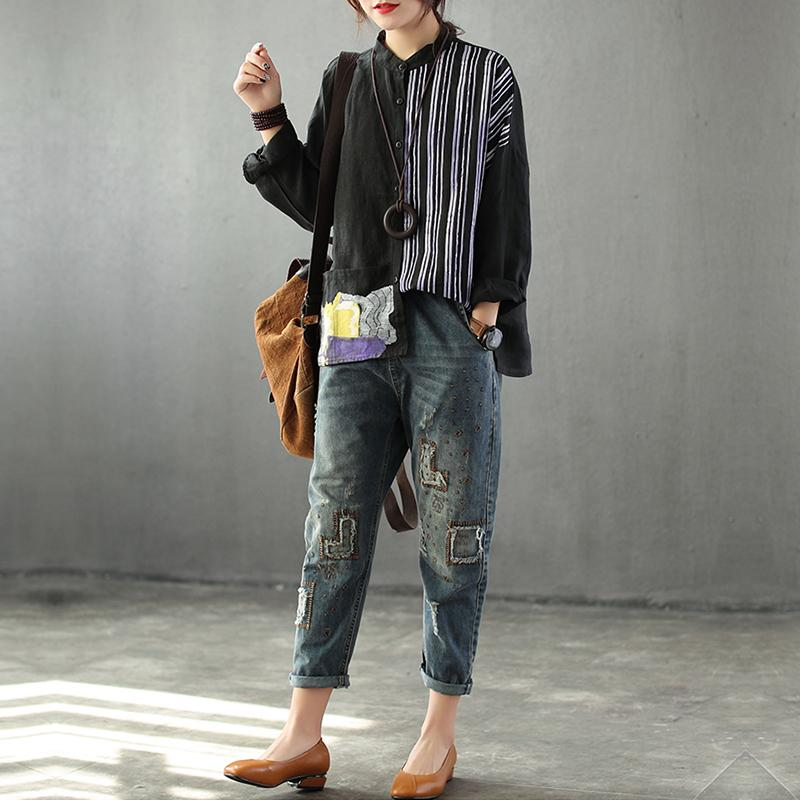Splicing Linen Stripe Printing Female Shirt