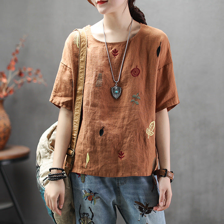 Embroidery Loose Casual Women T-shirt