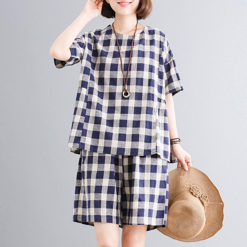 Casual Plaid Short Sleeve Blouse And Shorts