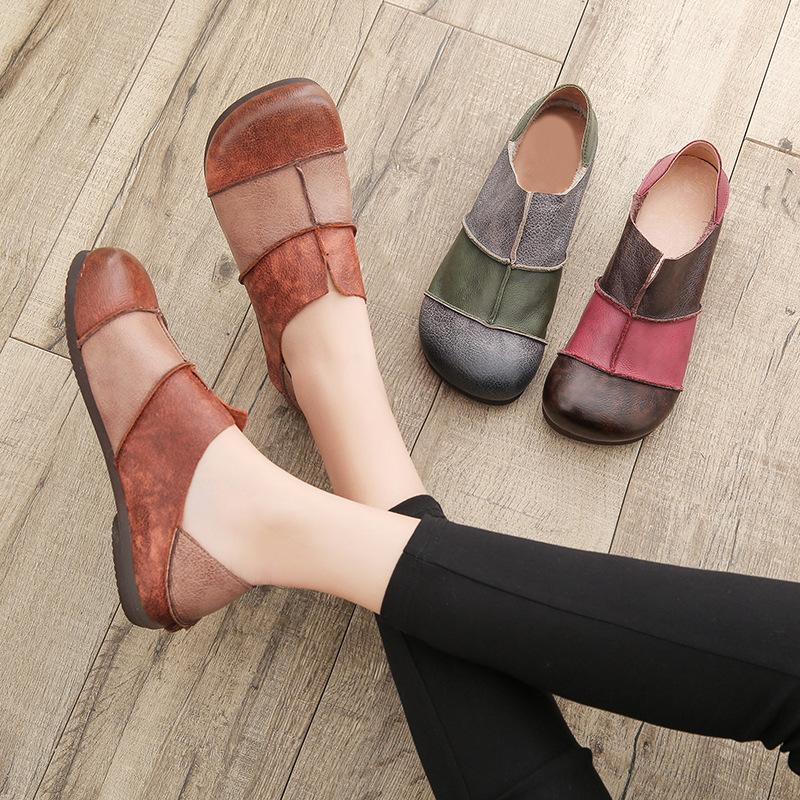 Leather Soft Bottom Casual Flat Women's Shoes