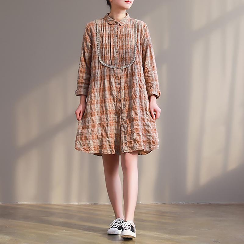 Women Spring Casual Cotton Spliced Plaid Pleated Dress