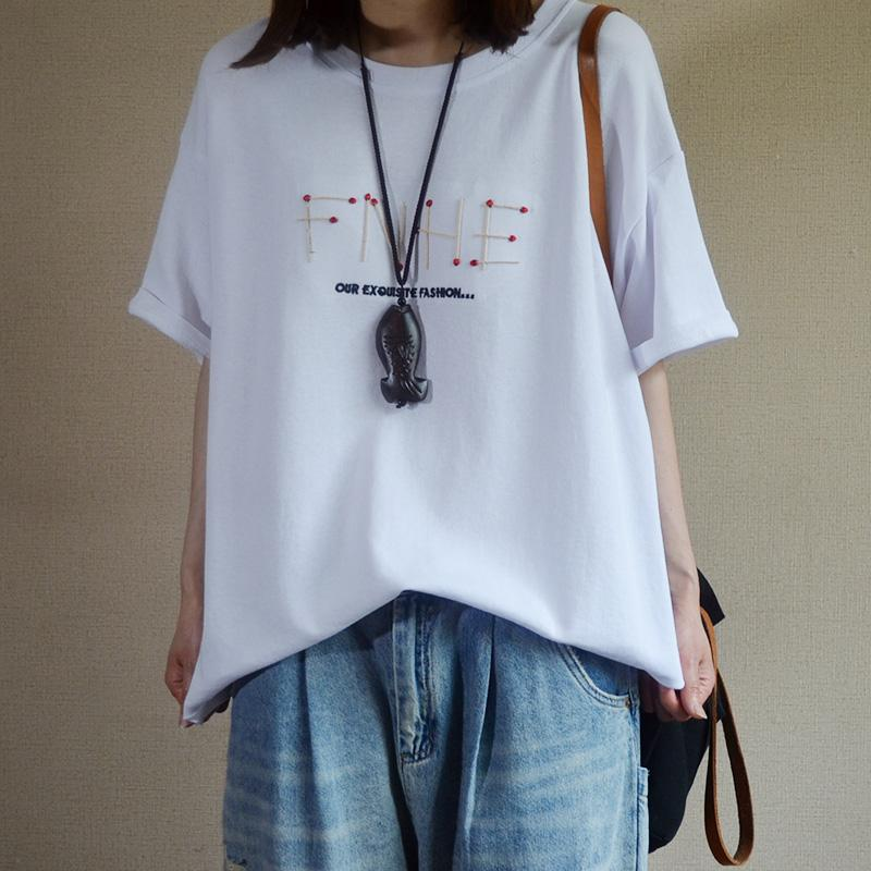 Casual Embroidery Short Sleeve Cotton Blouse