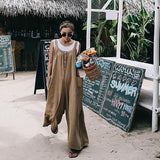 Loose large Size One-Piece Suspenders Casual Linen Jumpsuits