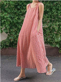 Sleeveless Cotton Linen Plaid Loose Dress