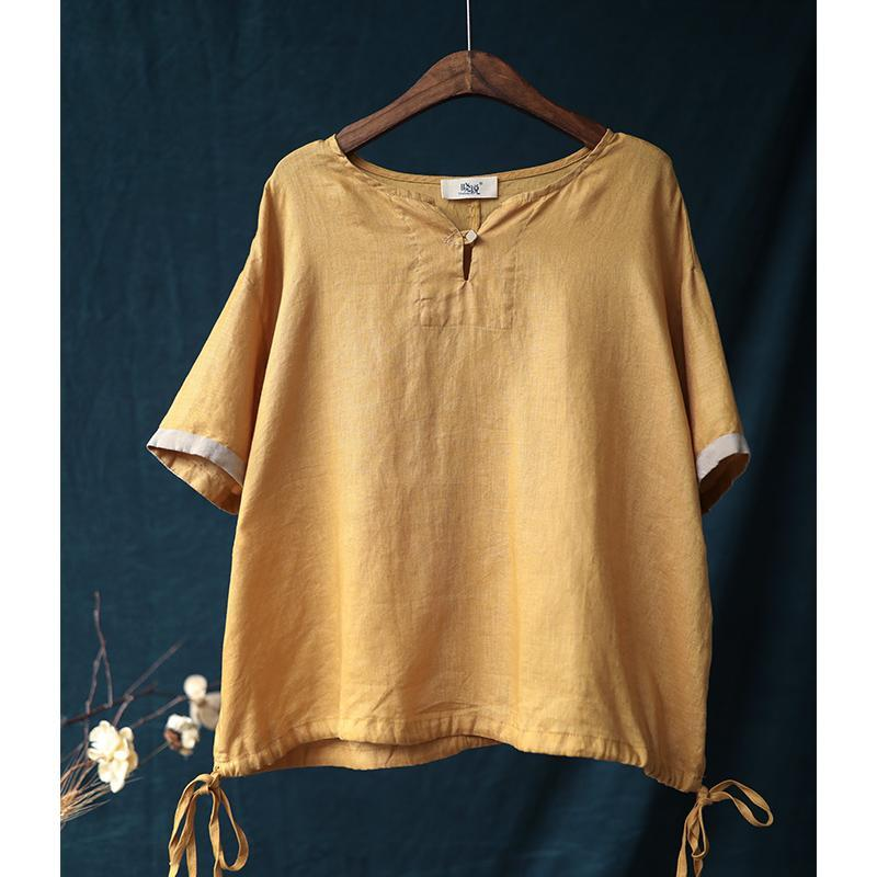 Summer Cotton Color Matching Short Sleeve T-shirt