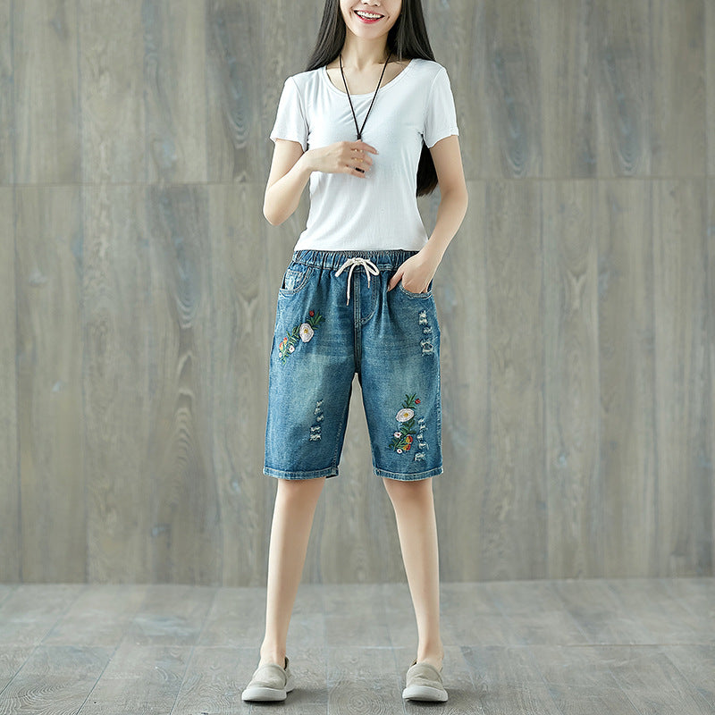 Floral Printed Simple Plus Size Jeans Shorts