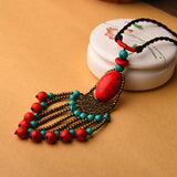Ethnic Exaggerated Tassel Long Pendant Necklaces