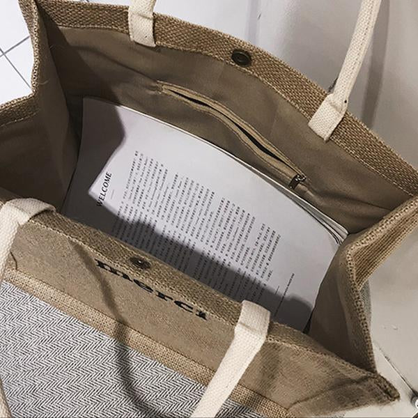 Summer Casual Woven Letter Print Tote Bag