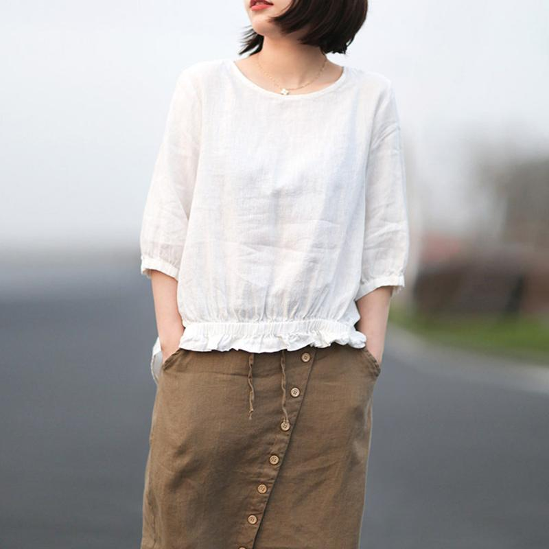 Casual Linen Round Neck Pleated Solid Blouse