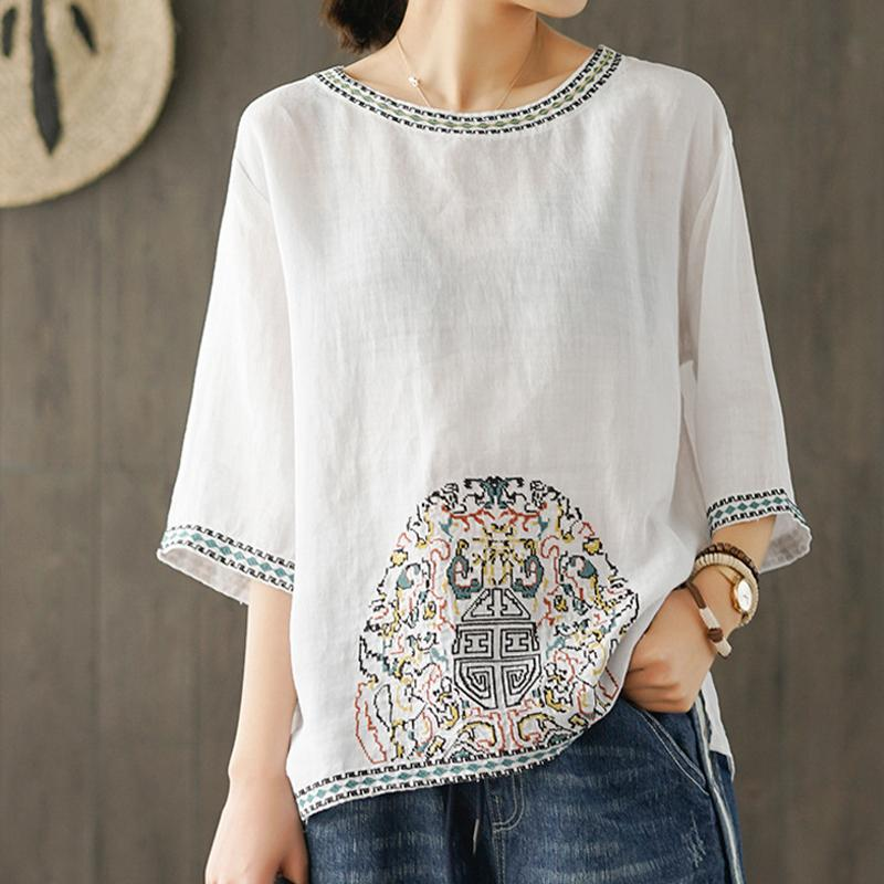 Summer Ramie Vintage Women Blouse