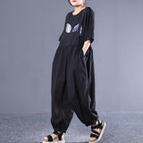 Literary Loose Pleated Bloomers Casual Jumpsuit