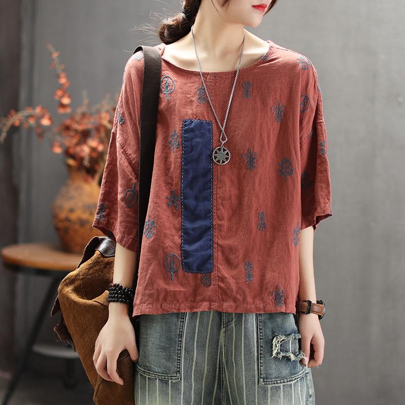 Summer Literary Embroidery Patchwork Round Neck T-Shirt