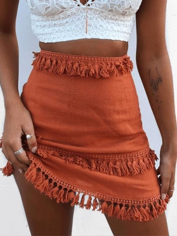 Linen Short Retro Vintage Solid Lace Patchwork  MiniBoho Skirts