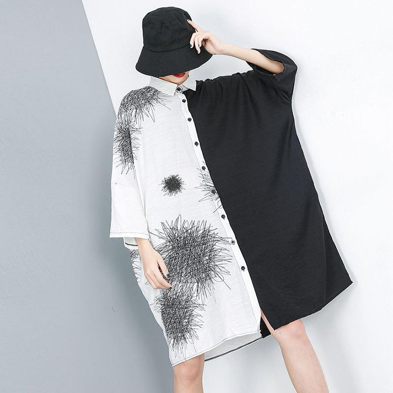 Women Loose Fashion Three Quarter Sleeve Dress