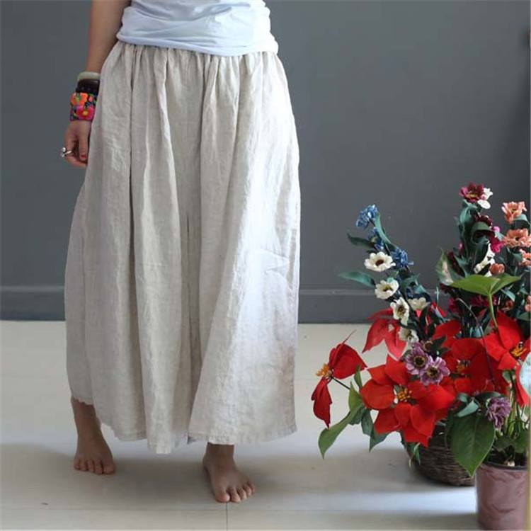 Women Soft Summer Loose Linen Wide Leg Pants