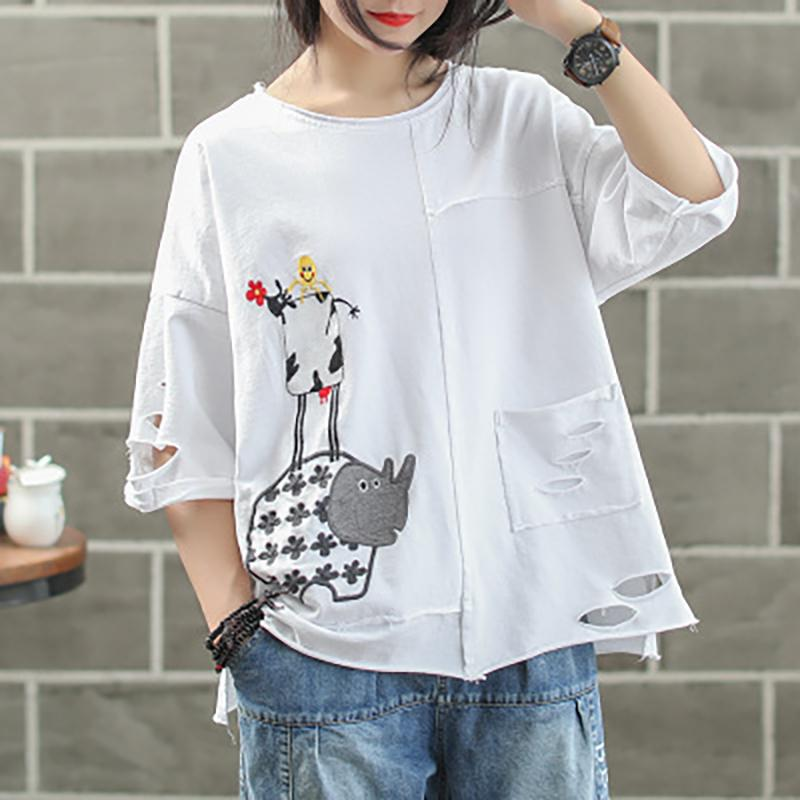 Ripped Hole Embroidery Irregular Casual T-Shirt