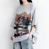 Cartoon Letter Printed Casual Loose T-Shirt
