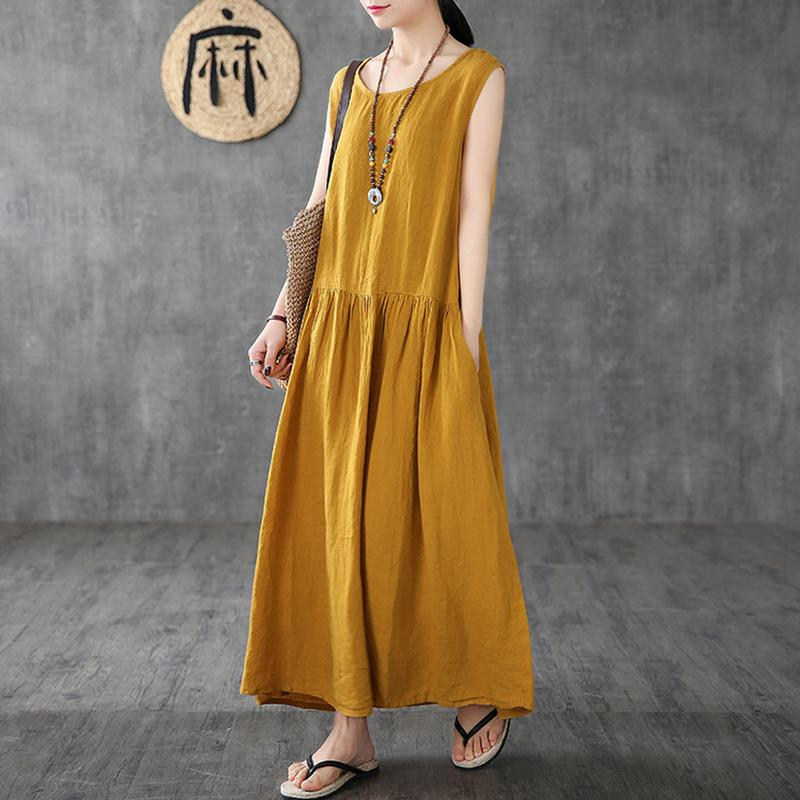 Women Linen Sleeveless Casual Summer Dress