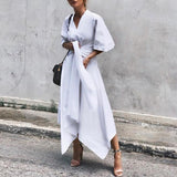 V Neck Irregular Women Maxi Dress
