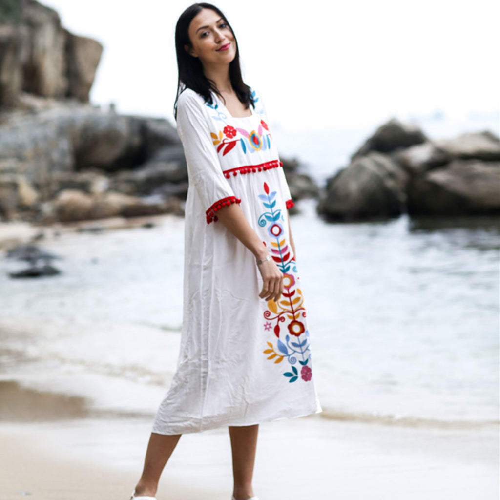 Boho Embroidery Cotton Linen Holiday Midi Dress