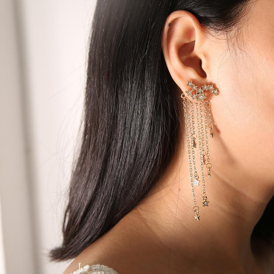 Sparkly Gold Silver Star Tassel Earrings
