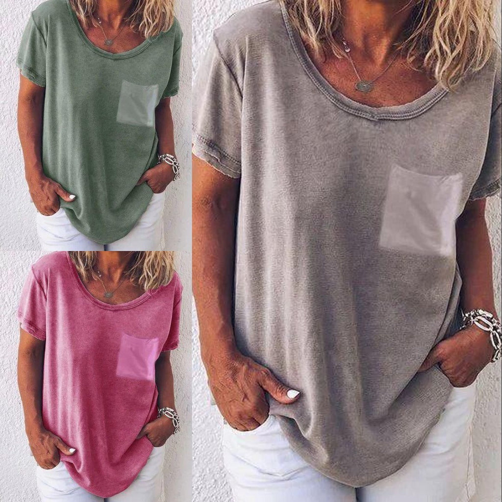 Casual T-shirts With Pocketed