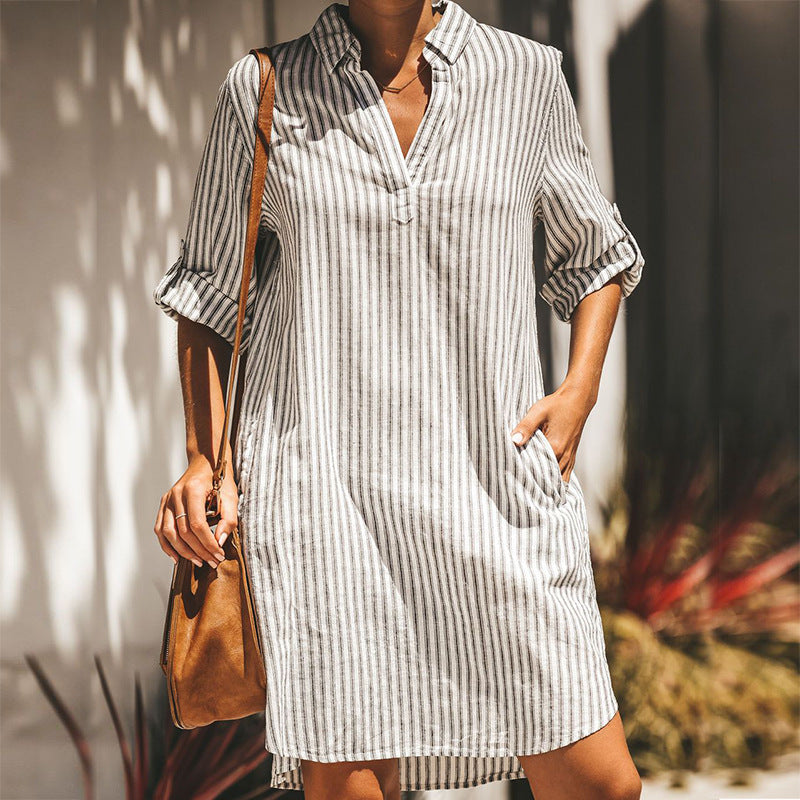 Loose Long Sleeve Striped Shirt Dress