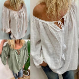 Plain Lace-Up Three-Quarter Sleeve Standard Blouse