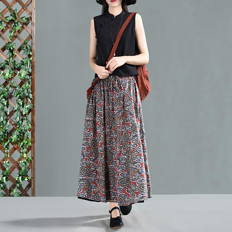 Spring Literary Printing Cotton Women's Skirt