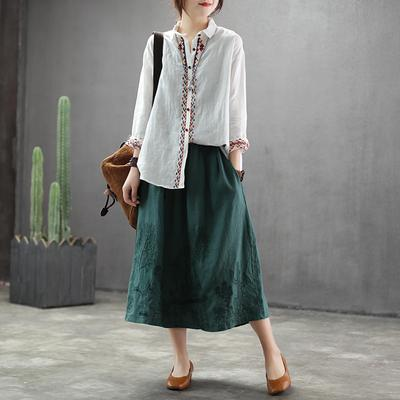 Spring New Embroidery A-line Plain Skirt