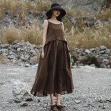 Cotton Vintage Spliced Solid Sleeveless Dress
