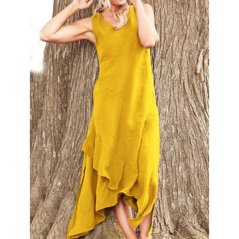 Fashion V Neck Irregular Ruffles Maxi Dress