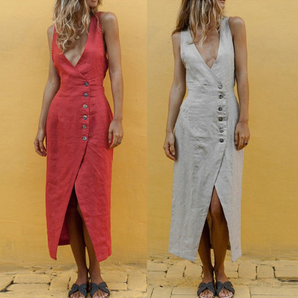 Sexy V Neck Sleeveless Buttons Maxi Dresses