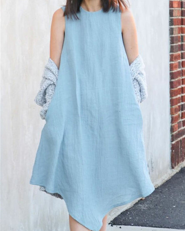 Crew Neck Cotton And Linen Plus Size Irregular Dress