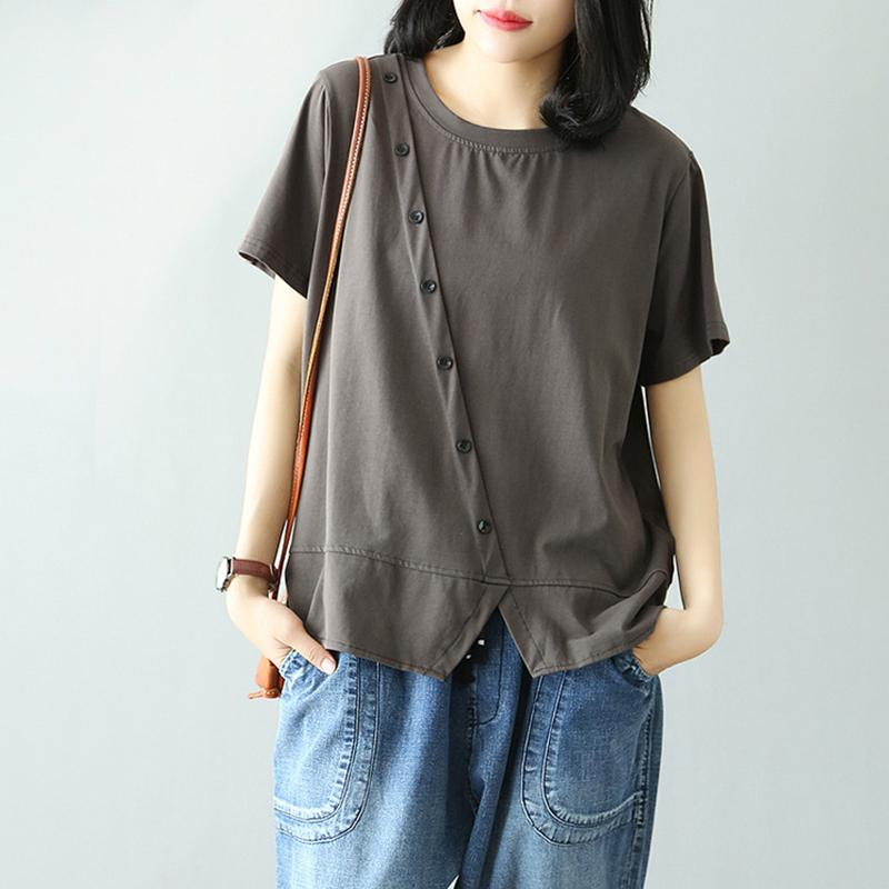 Loose Solid Slanting Button Short Sleeve Cotton T-Shirt