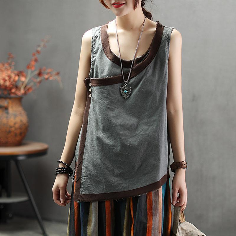 Vintage Irregular Cotton Linen Sleeveless Top