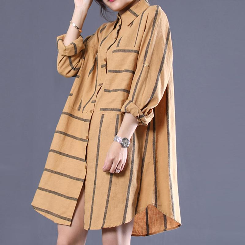 Women Spring Stripe Symmetrical Pocket Shirt Dress