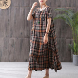 Plaid Spliced Pockets Loose Midi Dress